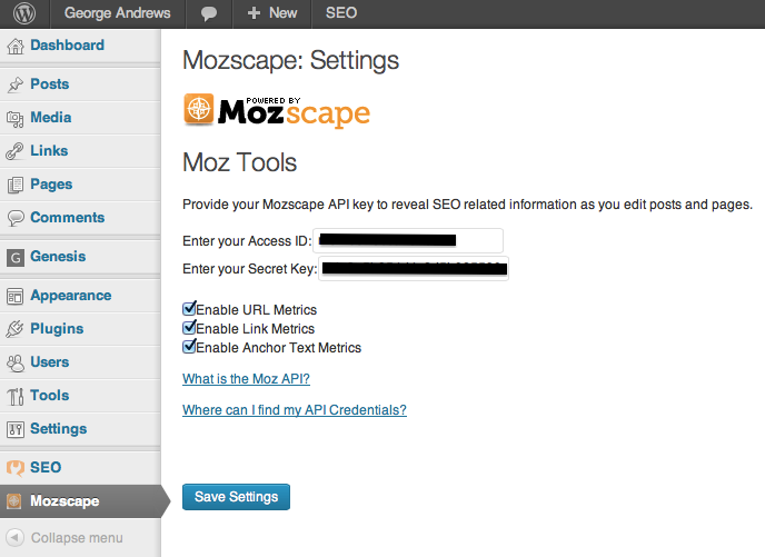 Mozscape Wordpress Plugin