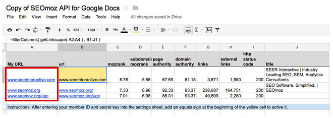 Mozscape Extension for Google Docs